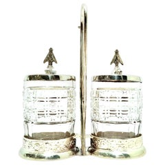 20th Century Cut Crystal & Silver Plate Cruet Set of Three Pieces