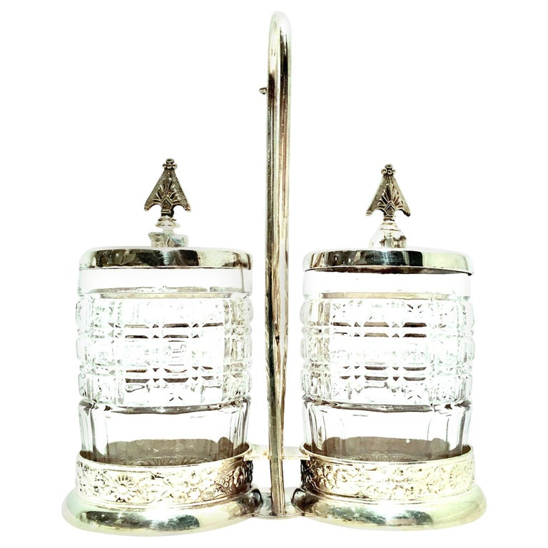 20th Century Cut Crystal & Silver Plate Cruet Set of Three Pieces For Sale