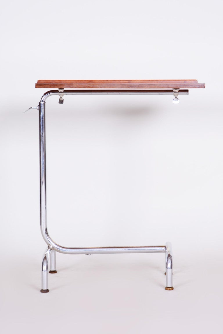 Original well preserved condition  Bauhaus adjustable chrome table Style: Bauhaus, Art Deco Period: 1930-1939. Material: Chrome-plated steel Source: Czechia.  Measures: Maximal height 113 cm (244.49 in) Minimal height 73 cm (28.74
