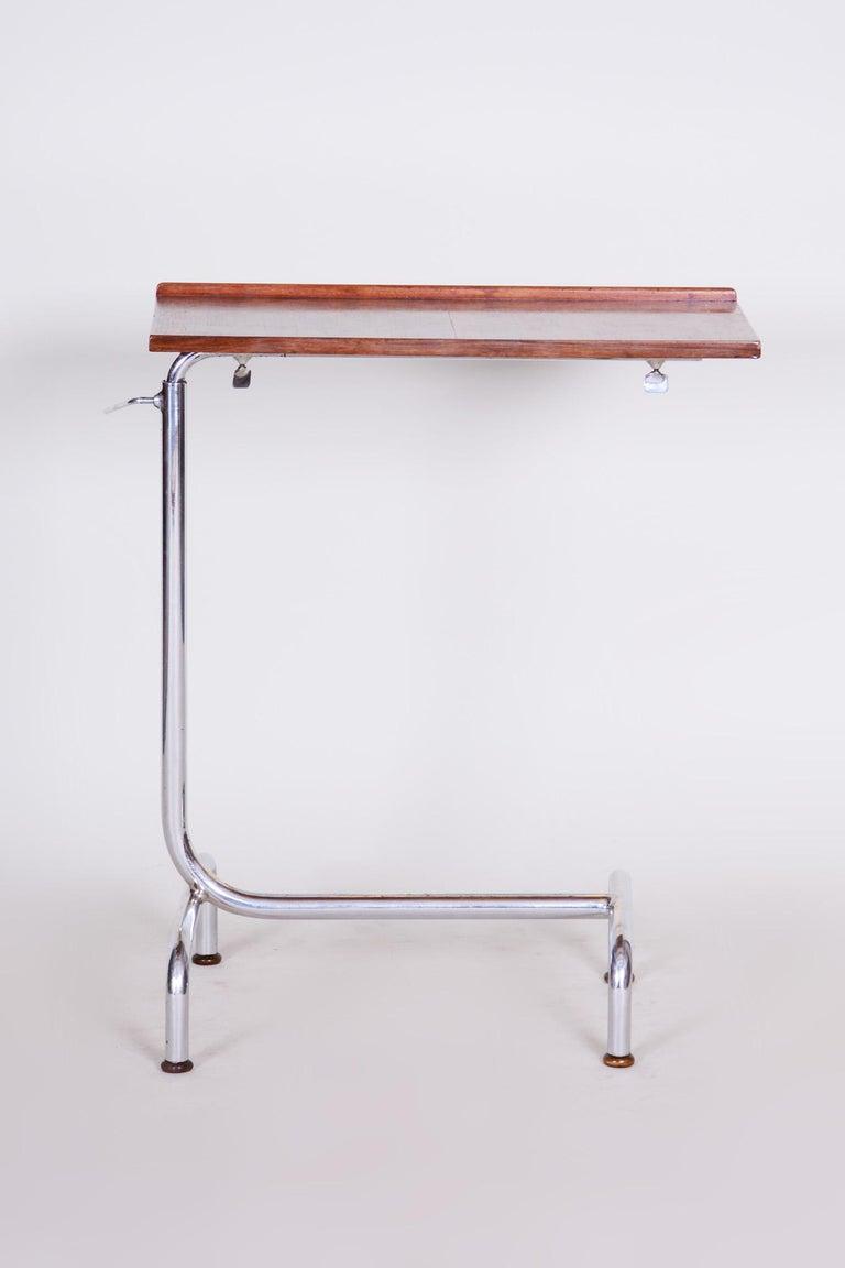 20th Century Czech Adjustable Bauhaus Table, Chrome, Mücke, Melder, 1930s In Good Condition For Sale In Prague 1, CZ