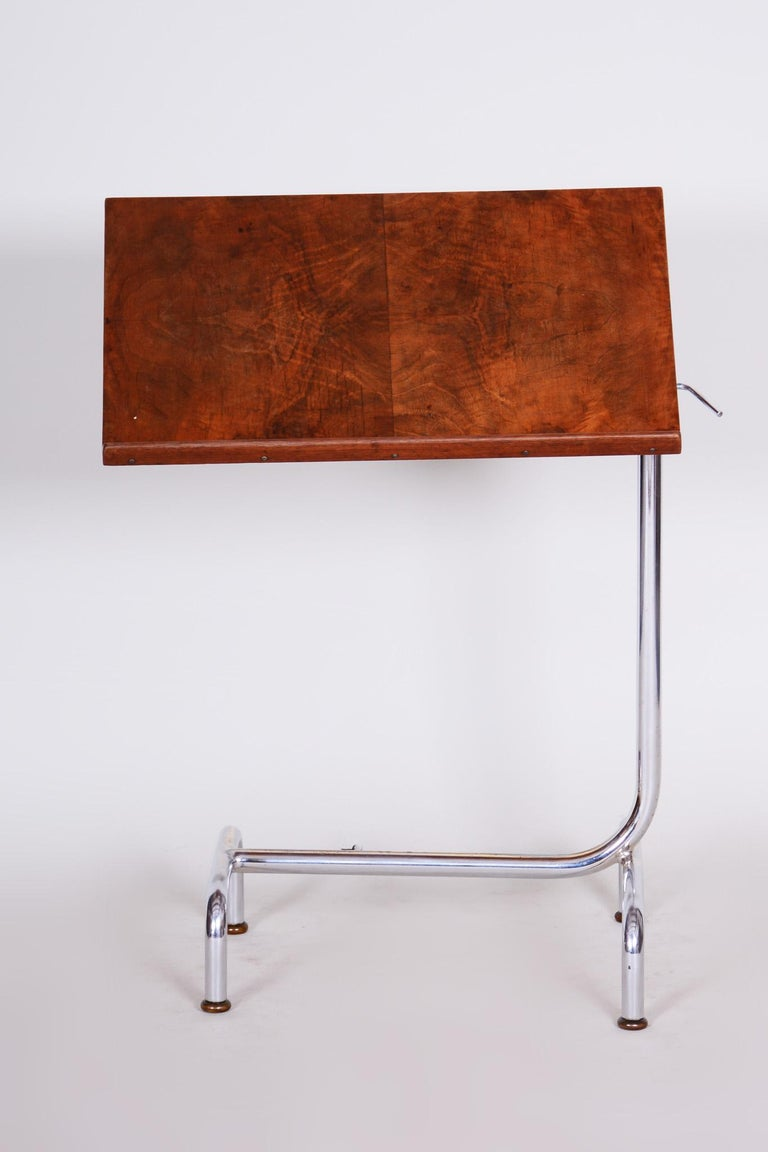 20th Century Czech Adjustable Bauhaus Table, Chrome, Mücke, Melder, 1930s For Sale 1