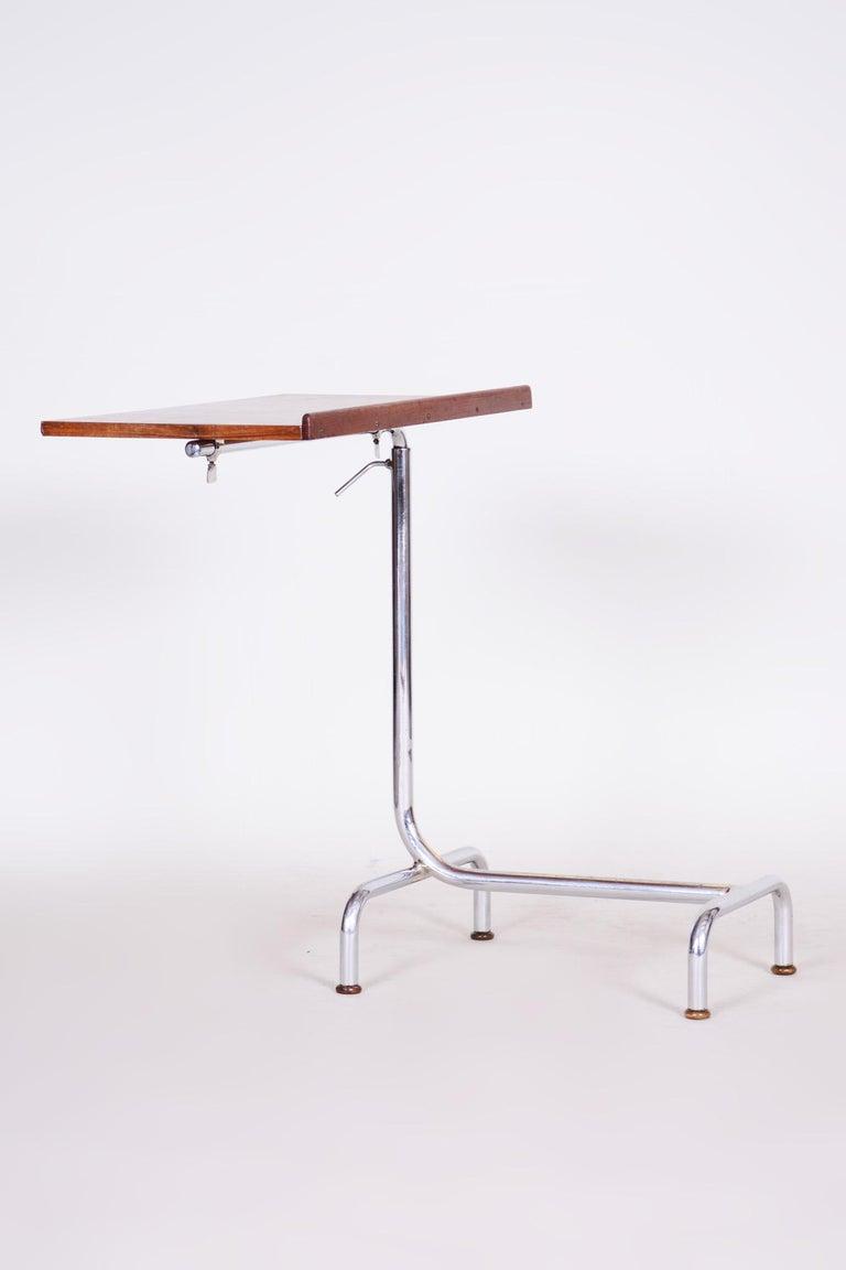 20th Century Czech Adjustable Bauhaus Table, Chrome, Mücke, Melder, 1930s For Sale 3