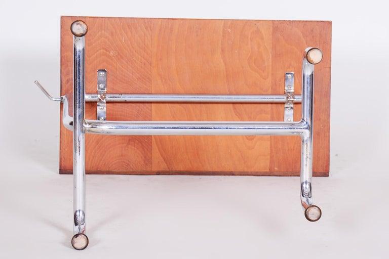 20th Century Czech Adjustable Bauhaus Table, Chrome, Mücke, Melder, 1930s For Sale 5