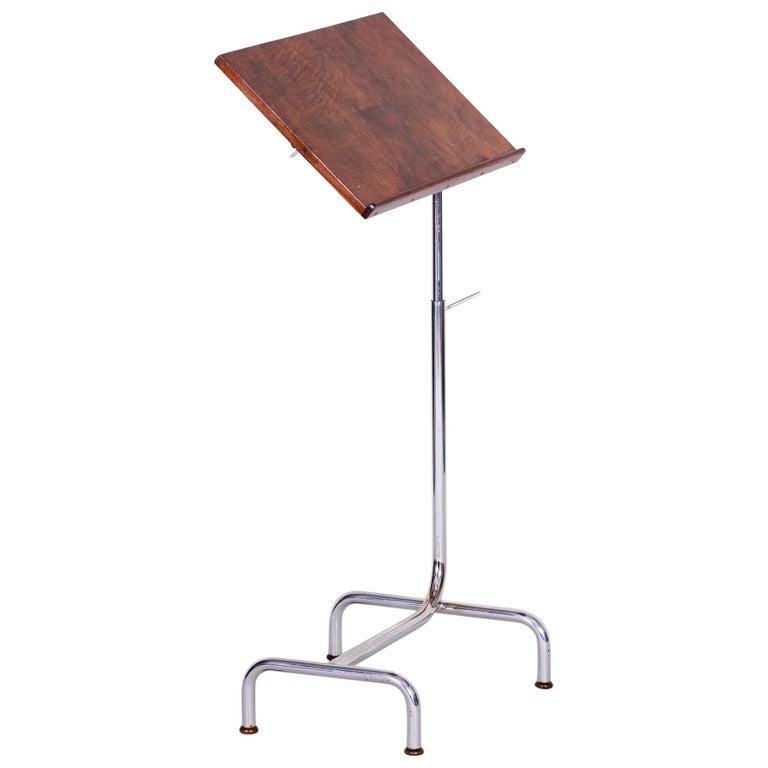 20th Century Czech Adjustable Bauhaus Table, Chrome, Mücke, Melder, 1930s For Sale
