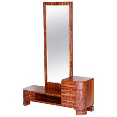 20th Century Czech Brown Art Deco Dressing Mirror, Material Thuja, 1930s