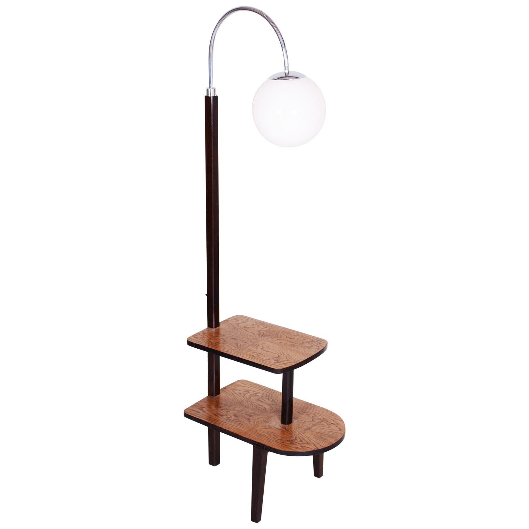 20th Century Czech Chrome Oak Floor Lamp, 1930s