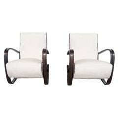 20th Century Czech Pair of Mahogany Lounge Chairs by Jindrich Halabala