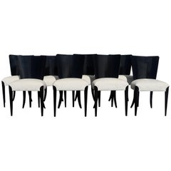 20th Century Czech Set of Eight Black Art Deco Chairs by Jindrich Halabala