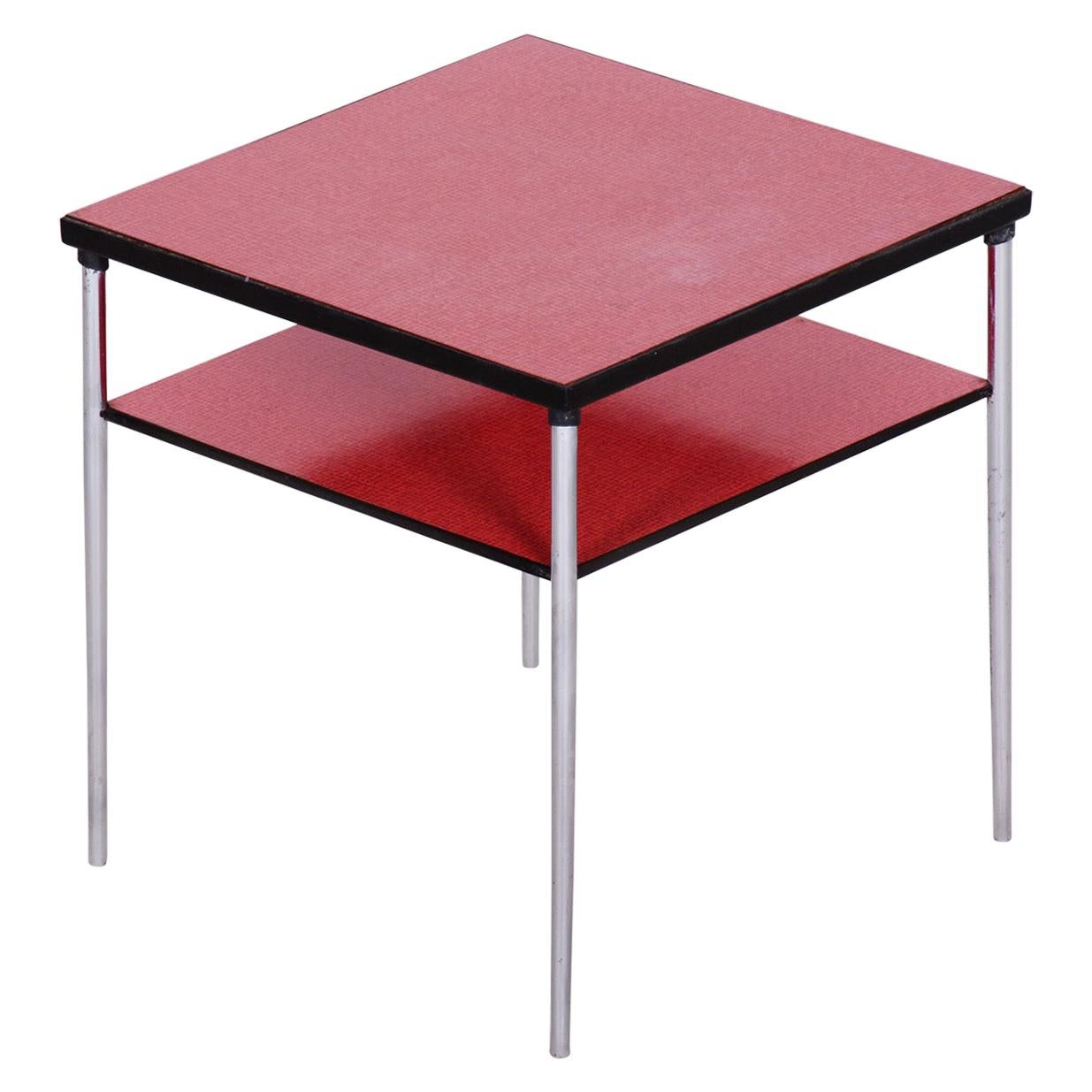 20th Century Czech Square Umakart Bauhaus Table, Chrome-Plated Steel, 1930s