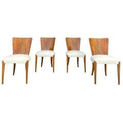 20th Century Czech Walnut Set of Four Beechwood Dining Chairs by Jindrich Halaba