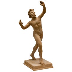 20th Century Dancing Satyr in Terracotta Clay