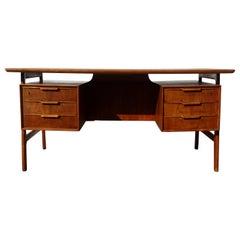 20th Century Danish Beechwood Writing Table, Desk by Bjarne & Gunni Omann