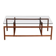 20th Century Danish Glass & Teak Coffee Table by Henning Norgaard, c.1960