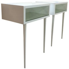 20th Century Danish Midcentury White Modern-Style Nightstands, a Pair