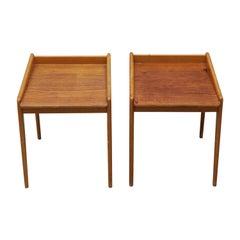 20th Century Danish Pair of Beechwood Bedside Tables, Oakwood Nightstands