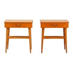 20th Century Danish Pair of Birchwood Nightstands, Brass Bedside Tables