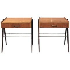 20th Century Danish Pair of Small Rosewood Nightstands