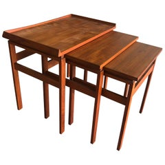 20th Century Danish Set of Three Scandinavian Teakwood Side Tables