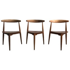 20th Century Danish Set of Three Teak Wood Side Chairs by Hans J. Wegner