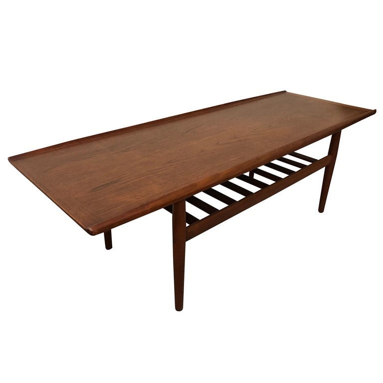 Hand-Carved 20th Century Danish Andreas Tuck Teakwood Coffee Table by Hans J. Wegner For Sale