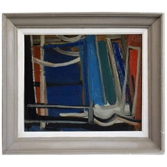 20th Century Dark Blue Abstract French Painting by Daniel Clesse