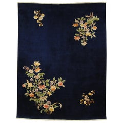 20th Century Dark Blue With Cascades of flowers Chinese Deco' Rug , 1950s