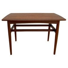 20th Century Dark-Brown Danish Sofa Table, Scandinavian Teakwood Side Table
