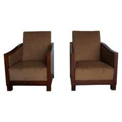 20th Century Dark-Brown French Art Deco Club Chairs - Walnut Side Chairs