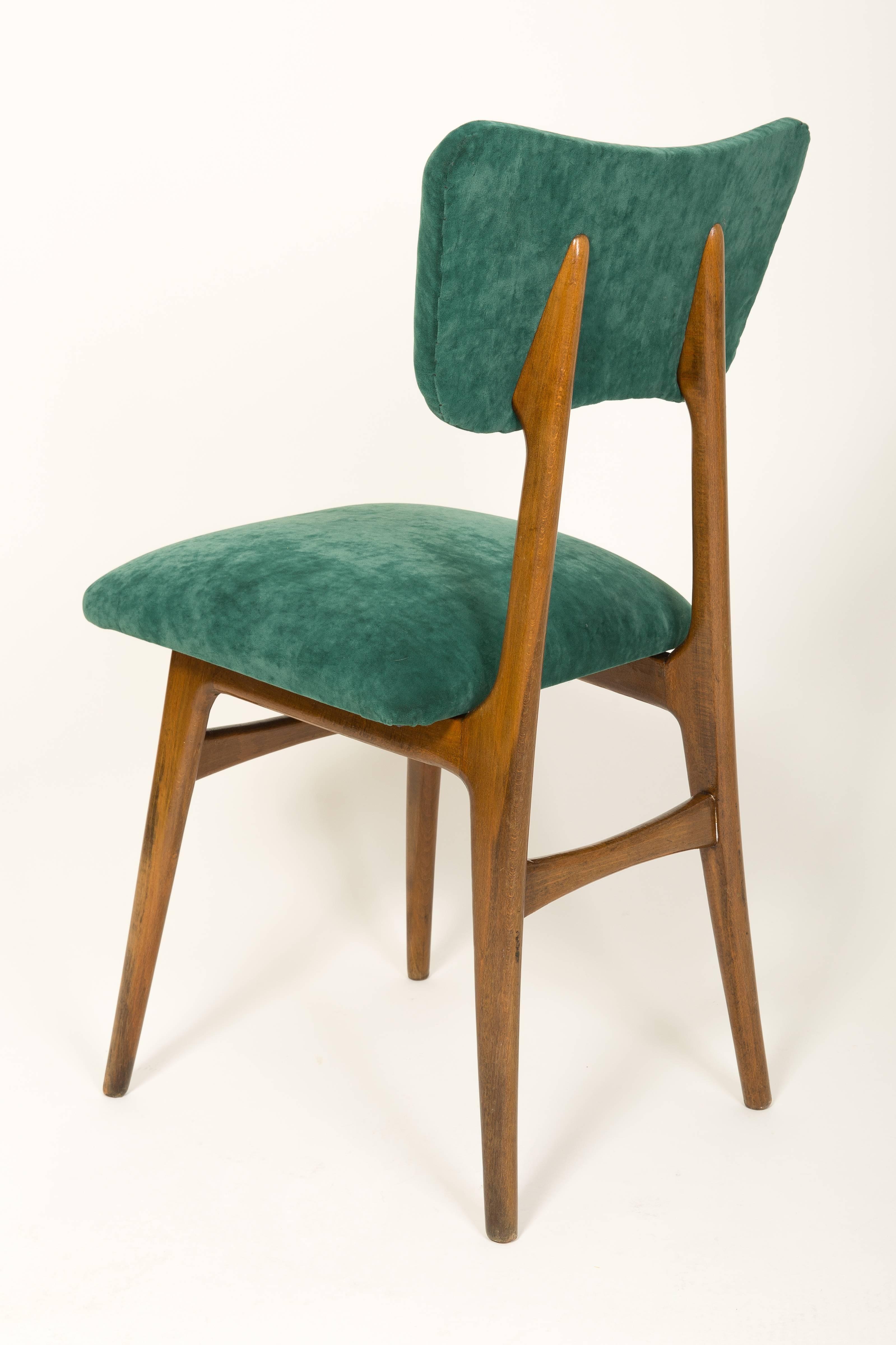 Polish 20th Century Dark Green Velvet Chair 1960s For Sale & 20th Century Dark Green Velvet Chair 1960s For Sale at 1stdibs