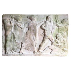 20th Century 'Death of Aigistho' Relief in Plaster from Ny Carlsberg Glyptotek