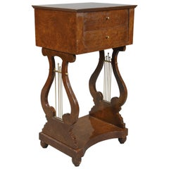 20th Century Decorative Lyre Sewing Table / Side Table in Biedermeier Style