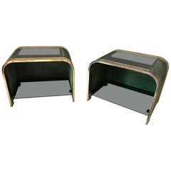 20th Century Design Nubuck, Smoked Glass and Brass Pair of Side Table, 1970s