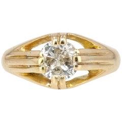 20th Century Diamond 18 Karat Yellow Gold Bangle Ring