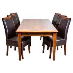 20th-Century Dining Set Upholstered with Dark Bronze Artificial Leather