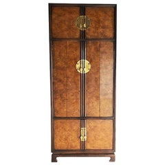 20th Century Drexel Heritage Chinoiserie Tai Ming Hutch Burl Wood Cabinet