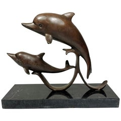 Loet Vanderveen 20th Century Black Marble and Bronze Dutch Dolphins Statue
