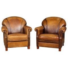 20th Century Dutch Pair of Sheepskin Leather Club Chairs, circa 1980