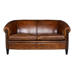 20th Century Dutch Two-Seat Sofa in Sheepskin Leather, circa 1960
