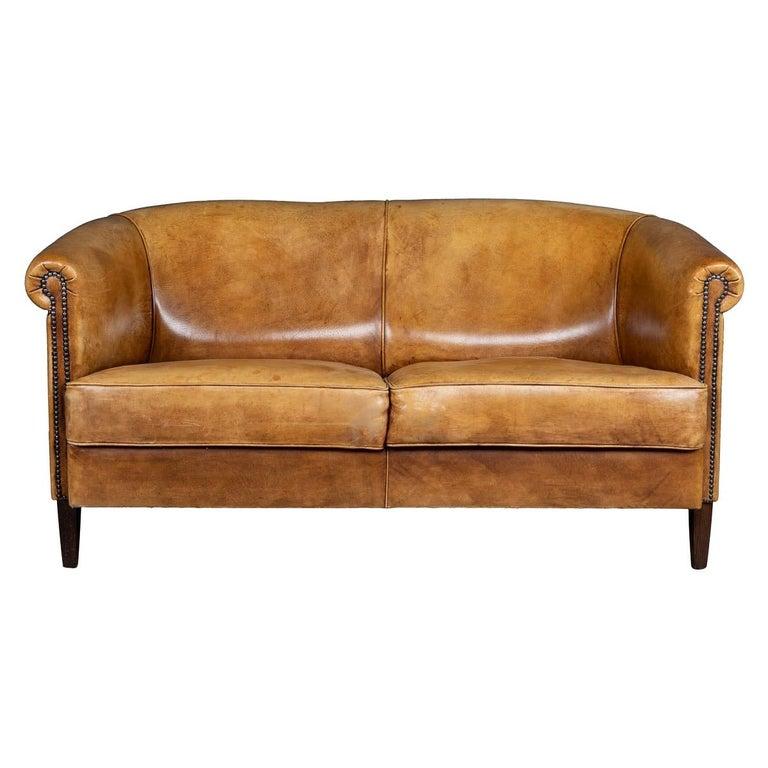 20th Century Dutch Two-Seat Tan Leather Sofa, circa 1980 For Sale
