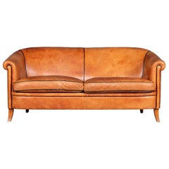 20th Century Dutch Two-Seat Tan Leather Sofa