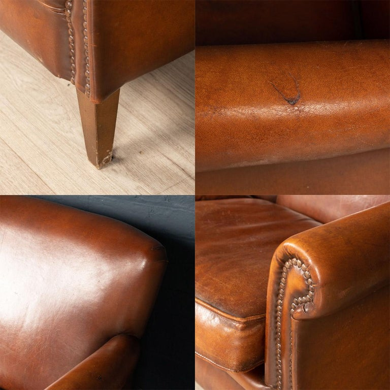 20th Century Dutch Two-Seat Leather Sofa, Holland 9
