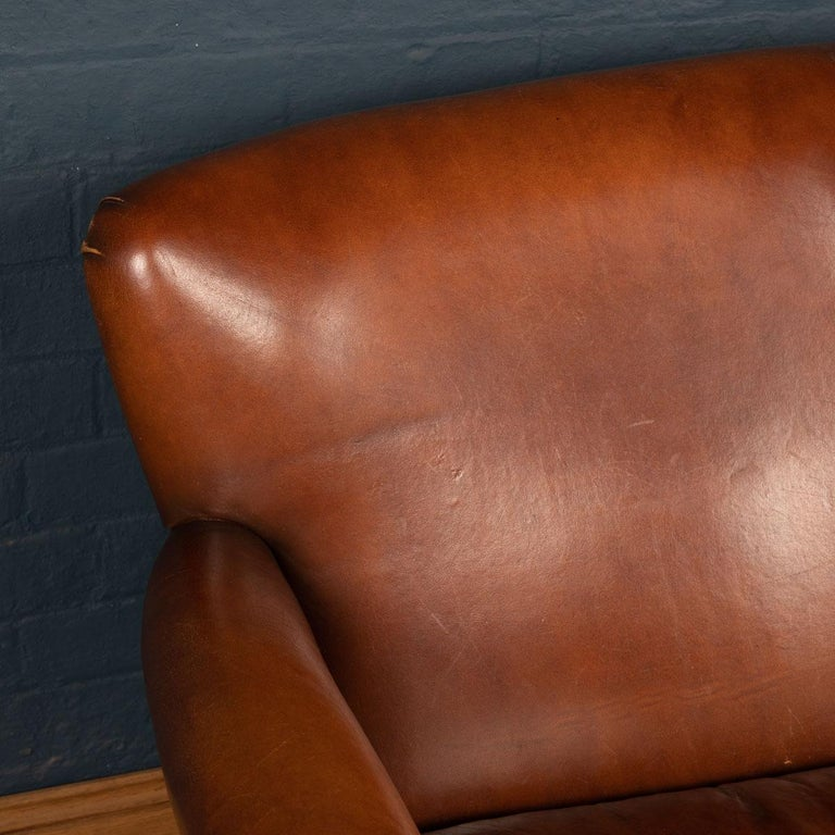 20th Century Dutch Two-Seat Leather Sofa, Holland 4