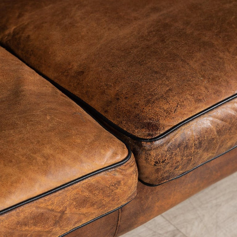 20th Century Dutch Two-Seat Sheepskin Leather Sofa, circa 1970 For Sale 7