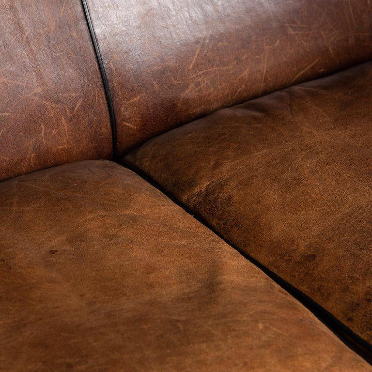 20th Century Dutch Two-Seat Sheepskin Leather Sofa, circa 1970 For Sale 8