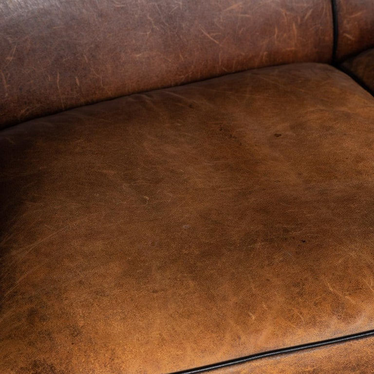 20th Century Dutch Two-Seat Sheepskin Leather Sofa, circa 1970 For Sale 9