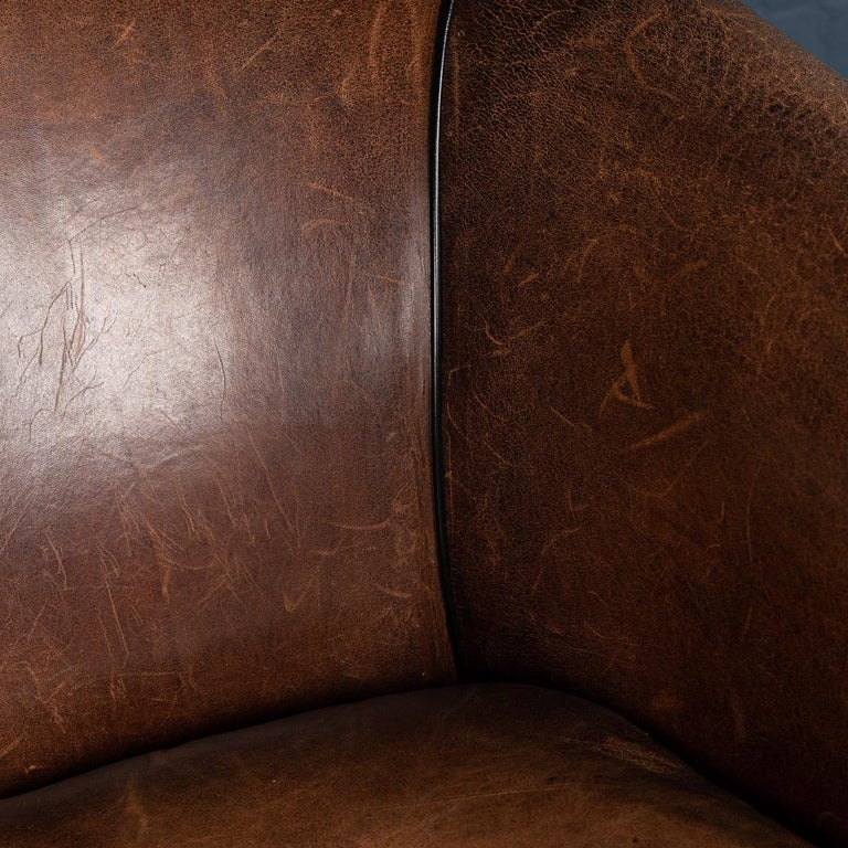 20th Century Dutch Two-Seat Sheepskin Leather Sofa, circa 1970 For Sale 12