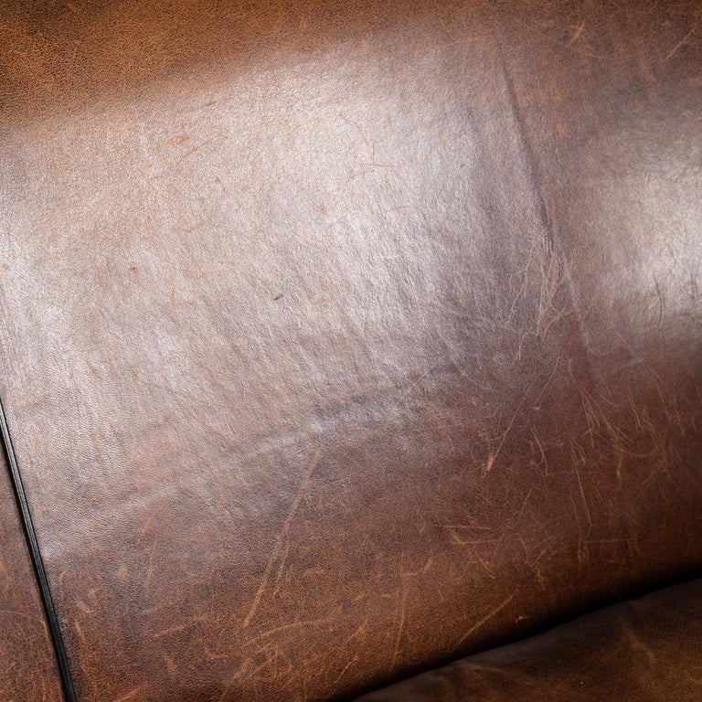 20th Century Dutch Two-Seat Sheepskin Leather Sofa, circa 1970 For Sale 13