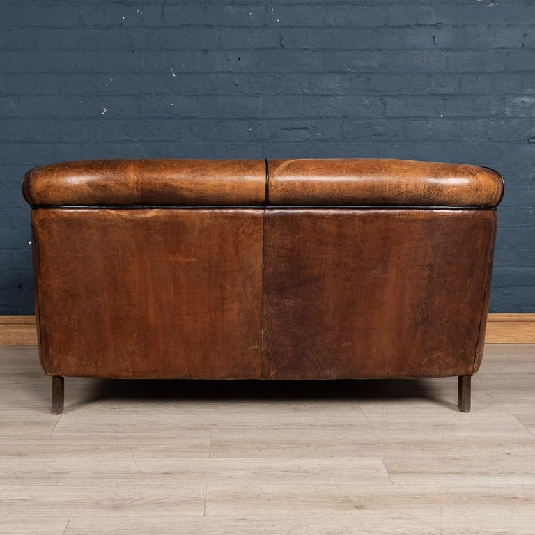 20th Century Dutch Two-Seat Sheepskin Leather Sofa, circa 1970 In Good Condition For Sale In London, London