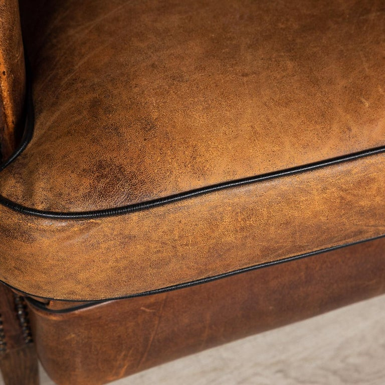 20th Century Dutch Two-Seat Sheepskin Leather Sofa, circa 1970 For Sale 6