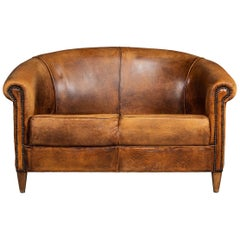 20th Century Dutch Two-Seat Sheepskin Leather Sofa, circa 1970